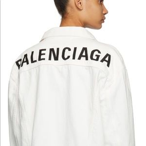 White Balenciaga Oversized Denim Jacket